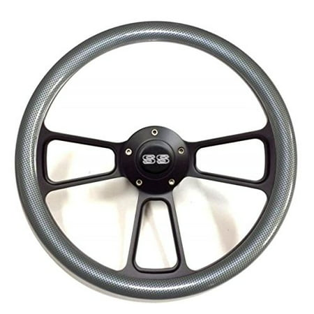 - 1967 - 1968 Chevelle Carbon Fiber Steering Wheel Black Billet Chevy SS Horn Kit