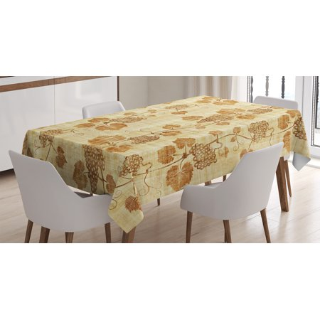 Grapes Vinyl Tablecloth - Grapes Home Decor Tablecloth, Cuisine Figure on Ancient Egyptian Papyrus Parchment Aged Crumpled Artwork, Rectangular Table Cover for Dining Room Kitchen, 52 X 70 Inches, Cream, by Ambesonne
