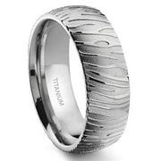 Titanium Kay 7 Degree Tiger Skin Pattern Titanium Comfort Fit Wedding Band Ring Sz 10.0