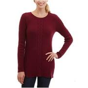 Nautica Women's Single Cable Knit Tunic Sweater (Maroon, X-Small)