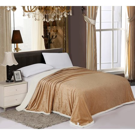Valboa Carved Damask Reversible Over-sized Sherpa Blanket (Queen,