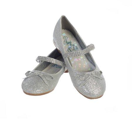Girls Silver Glitter Rhinestone Strap Summer Dress Shoes 2 Kids - Silver Girls Shoes