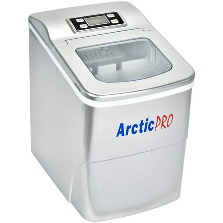 Arctic-Pro Portable Digital Quick Ice Maker Machine, Silver, Makes 2 Ice Sizes Aluminum Ice Maker Refrigerator