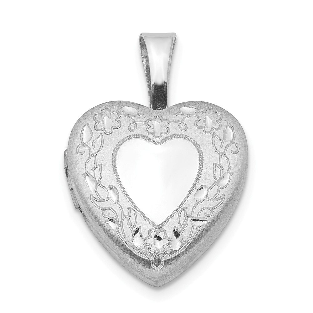 Sterling Silver 0.4IN Flower Border Heart Locket (0.4IN x 0.4IN )