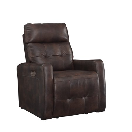 (Anna Collection Contemporary Leather Upholstered Living Room Electric Recliner Power Chair with Adjustable headrest, Brown)