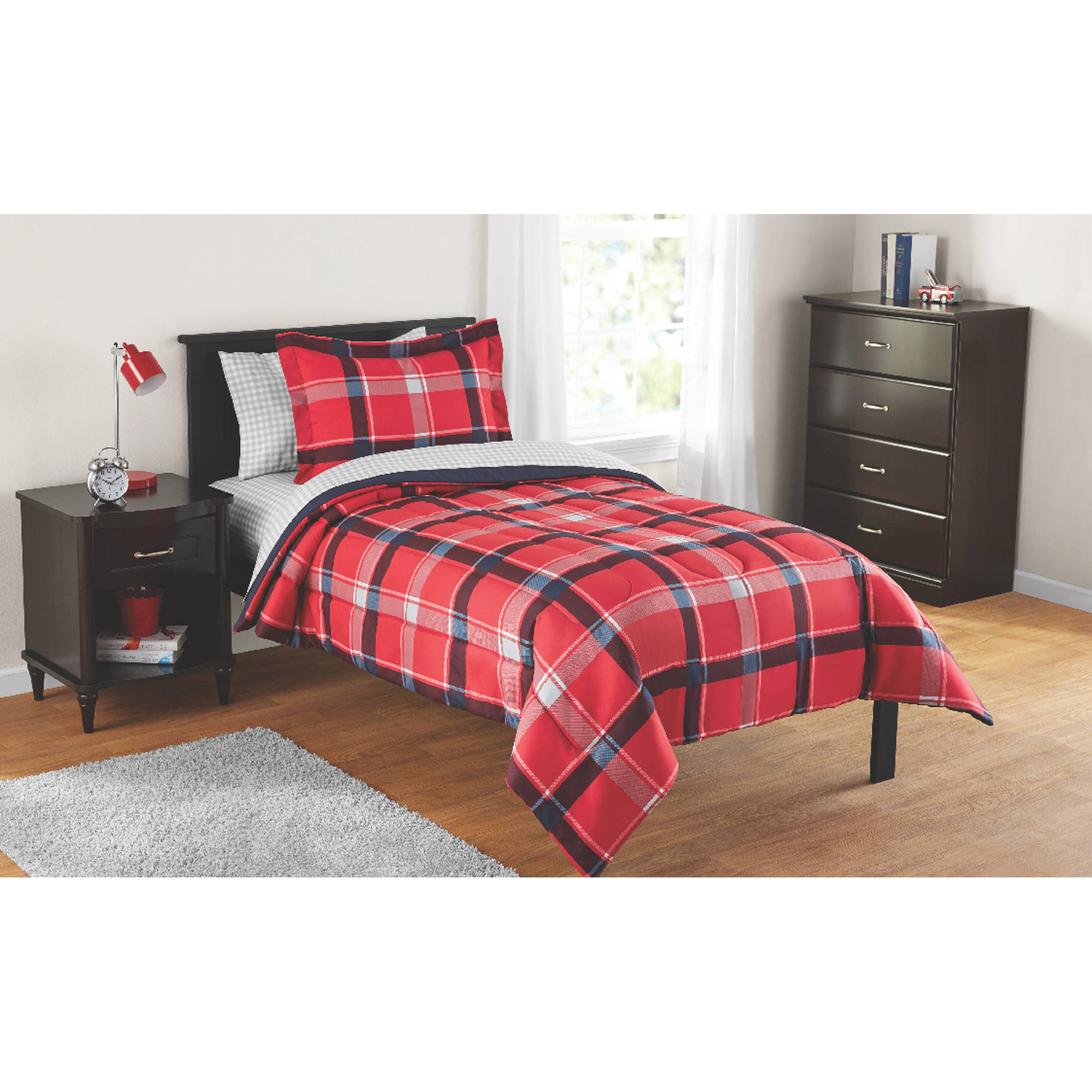 Mainstays Kids Red Plaid Bed In A Bag Complete Bedding Set 7 Pc