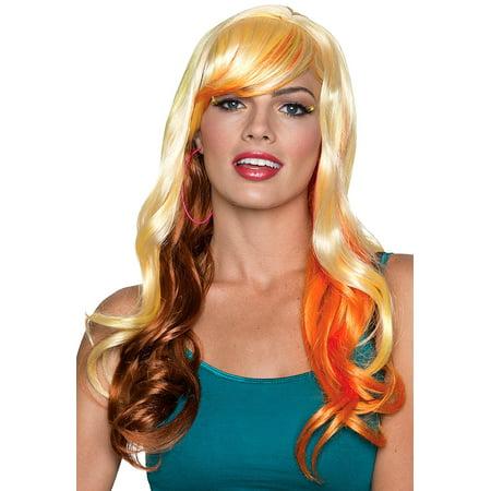 Rubies Halloween Long Wavy Fancy Bangs Wig, Blonde Brown, One - Rubies Halloween Wigs