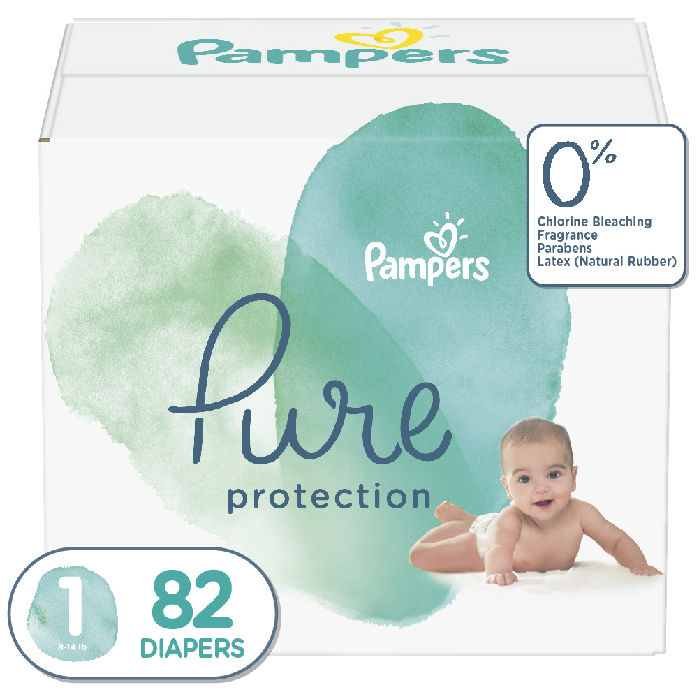 Diapers Newborn//Size N 32 Count Pampers Pure Protection Disposable Baby Diapers 10 lb Hypoallergenic and Unscented Protection