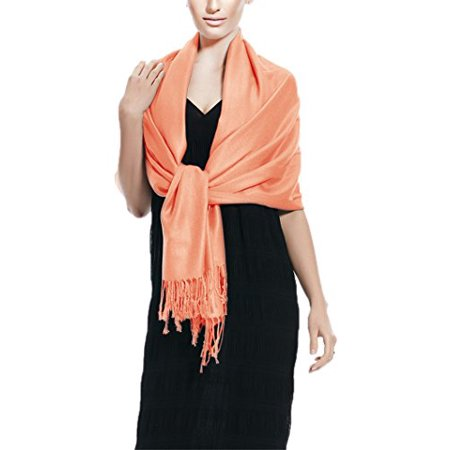 Peach Couture Soft and Silky Bamboo Rayon Pashmina Feel Shawl Scarf Wrap (Coral)