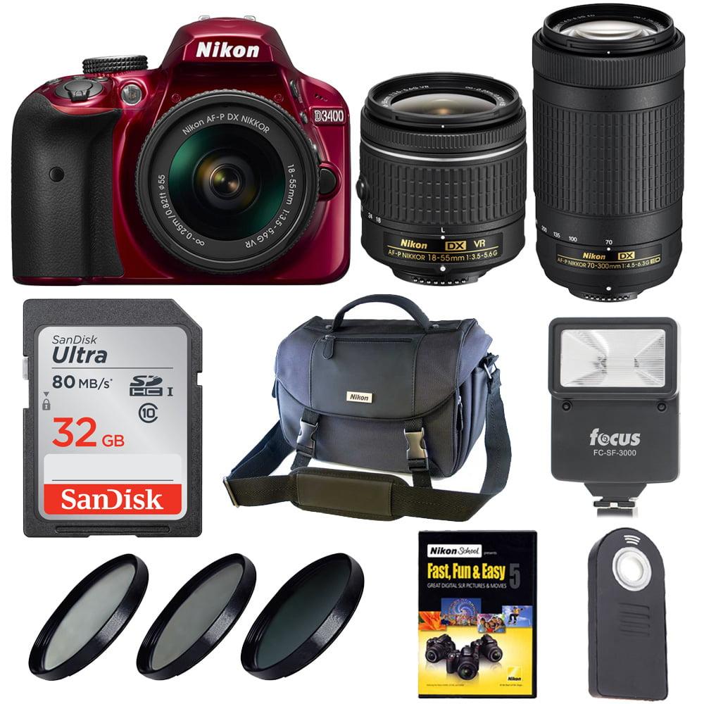 Nikon D3400 DSLR Camera w/ 18-55mm & 70-300mm Lens & Niko...