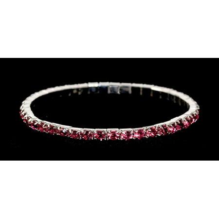 #11950 Single Row Stretch Rhinestone Bracelet - Fuchsia Crystal  Silver