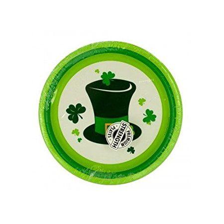 Irish Fun Irish Party Hat and Clover Leaf Design Paper Dessert Plates - 16 count - Fun Halloween Party Desserts