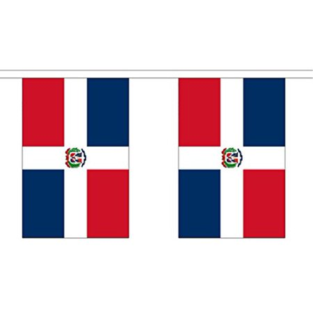 10' Dominican Republic String Flag Party Bunting Has 10 Dominican 6