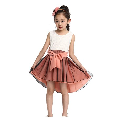 High-Low Hem Girls Dress Beautiful Sleeveless Floral Lace Dress with 2 Layered Soft Chiffon/Tulle Bottom, Coral Pink, 3Y](Beautiful Girls Dresses)