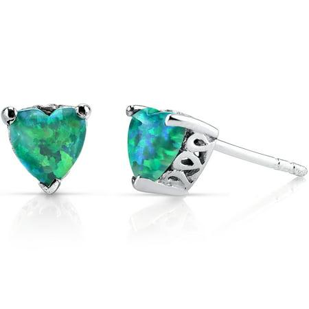 1.25 Ct Heart Shape Green Opal Sterling Silver Stud Earrings Rhodium Finish