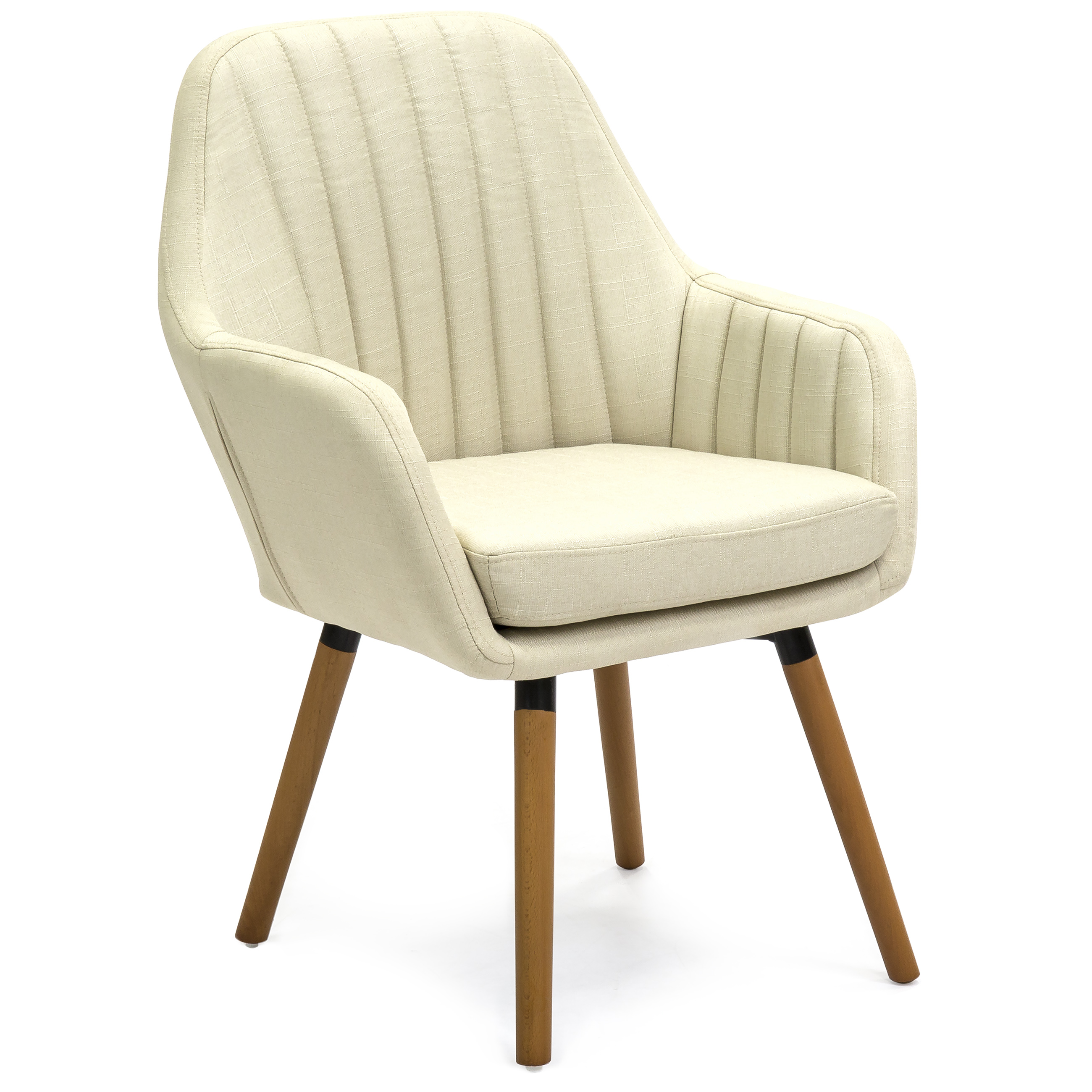Best Choice Products Mid-Century Modern Line Tufted Accent Chair (Beige) by Best Choice Products