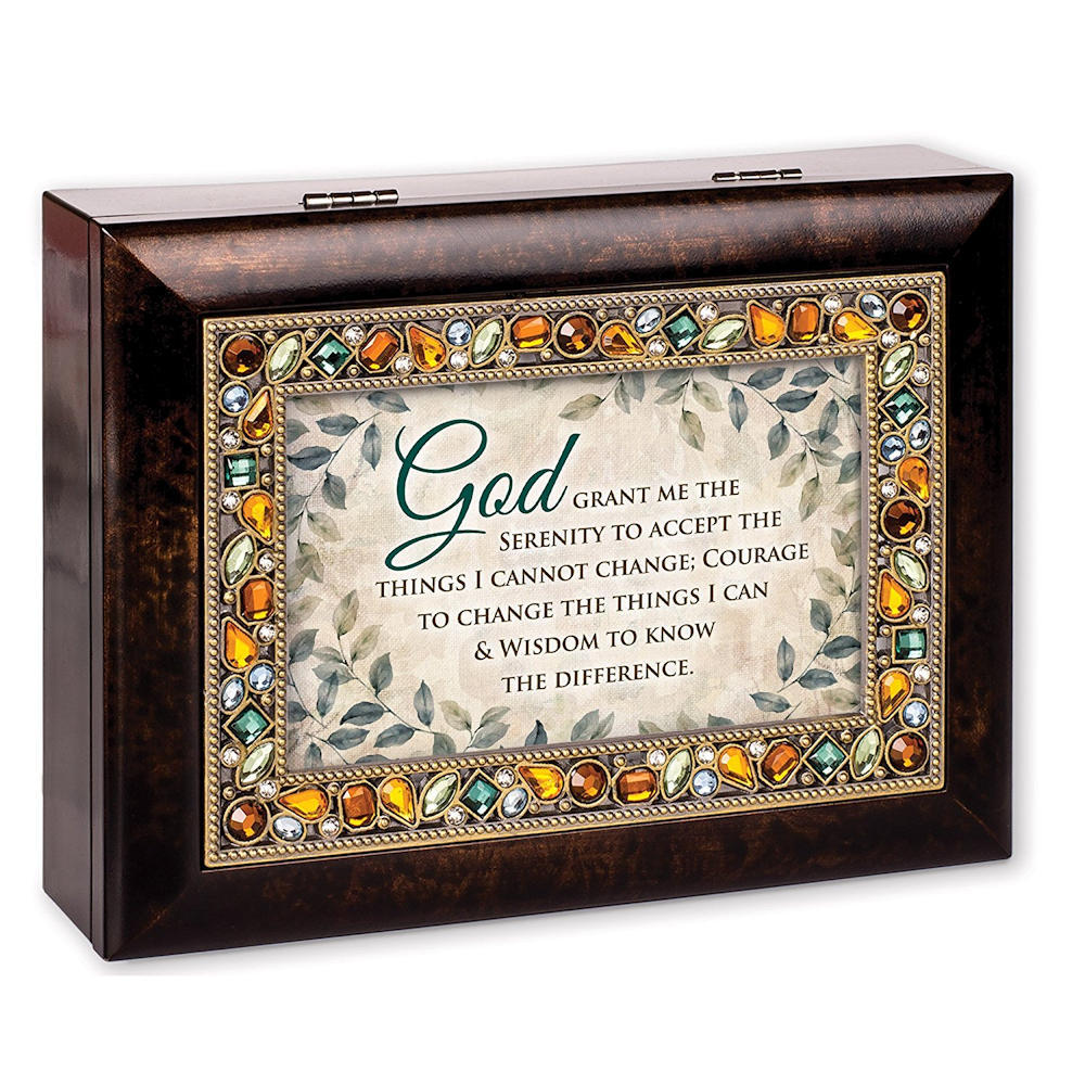 Cottage Garden JM268S God Grant Me The Serenity Jeweled Amber Earth Tones Keepsake Music Box plays Amazing Grace by Cottage Garden