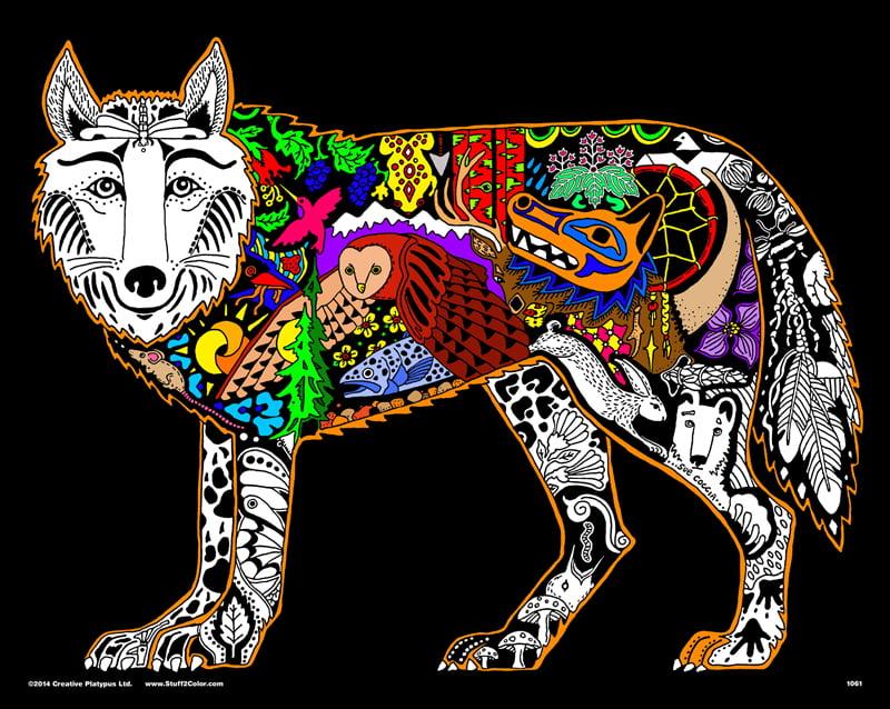 Wolf - 16x20 Fuzzy Velvet Coloring Poster Inner Nature - Walmart.com -  Walmart.com