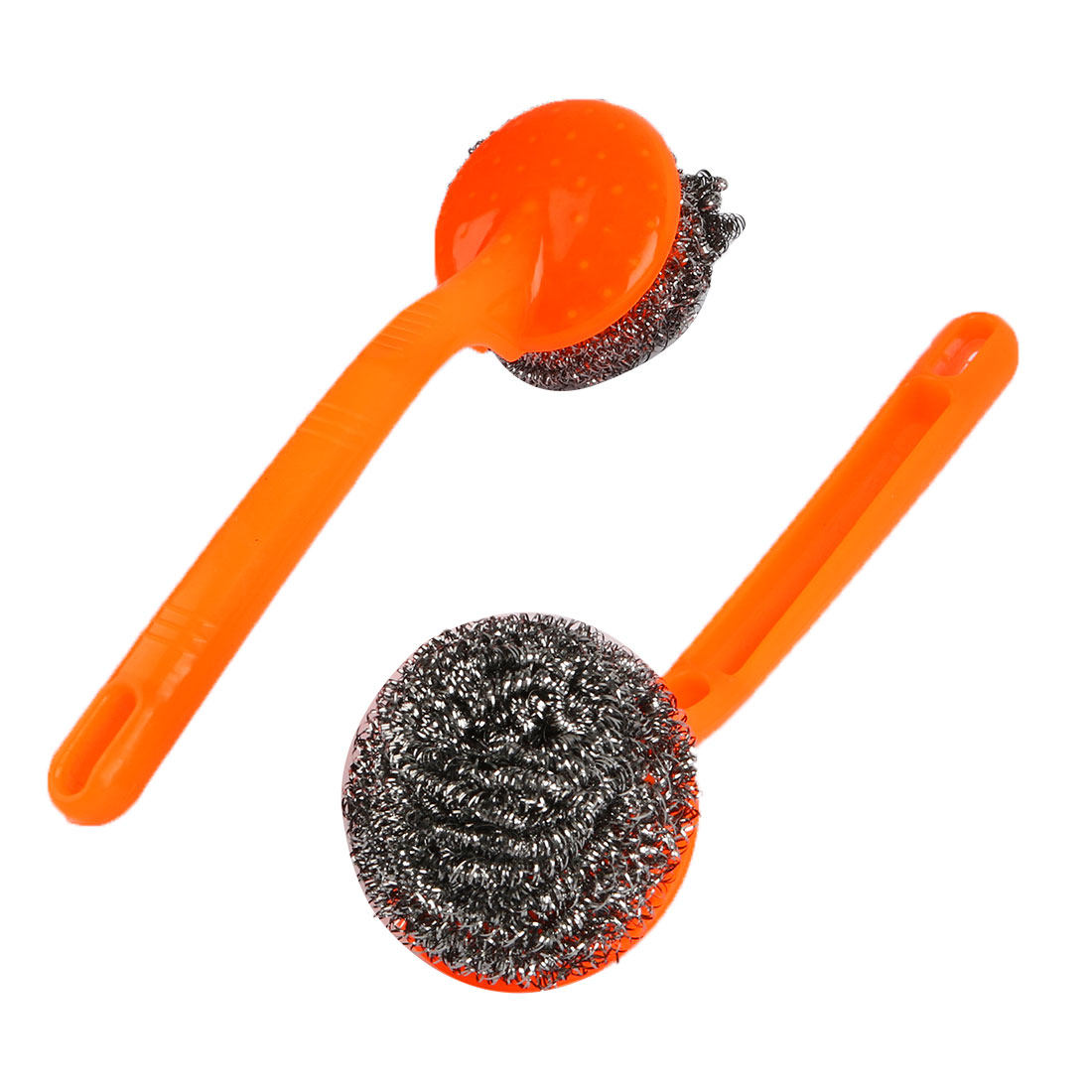 2pcs Kitchen Plastic Grip Bowl Pot Cleaning Steel Wire Ball Scourer Brush Yellow