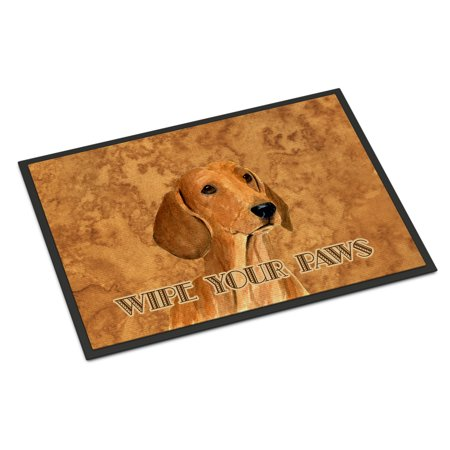 Red Dachshund Wipe your Paws Door Mat ()