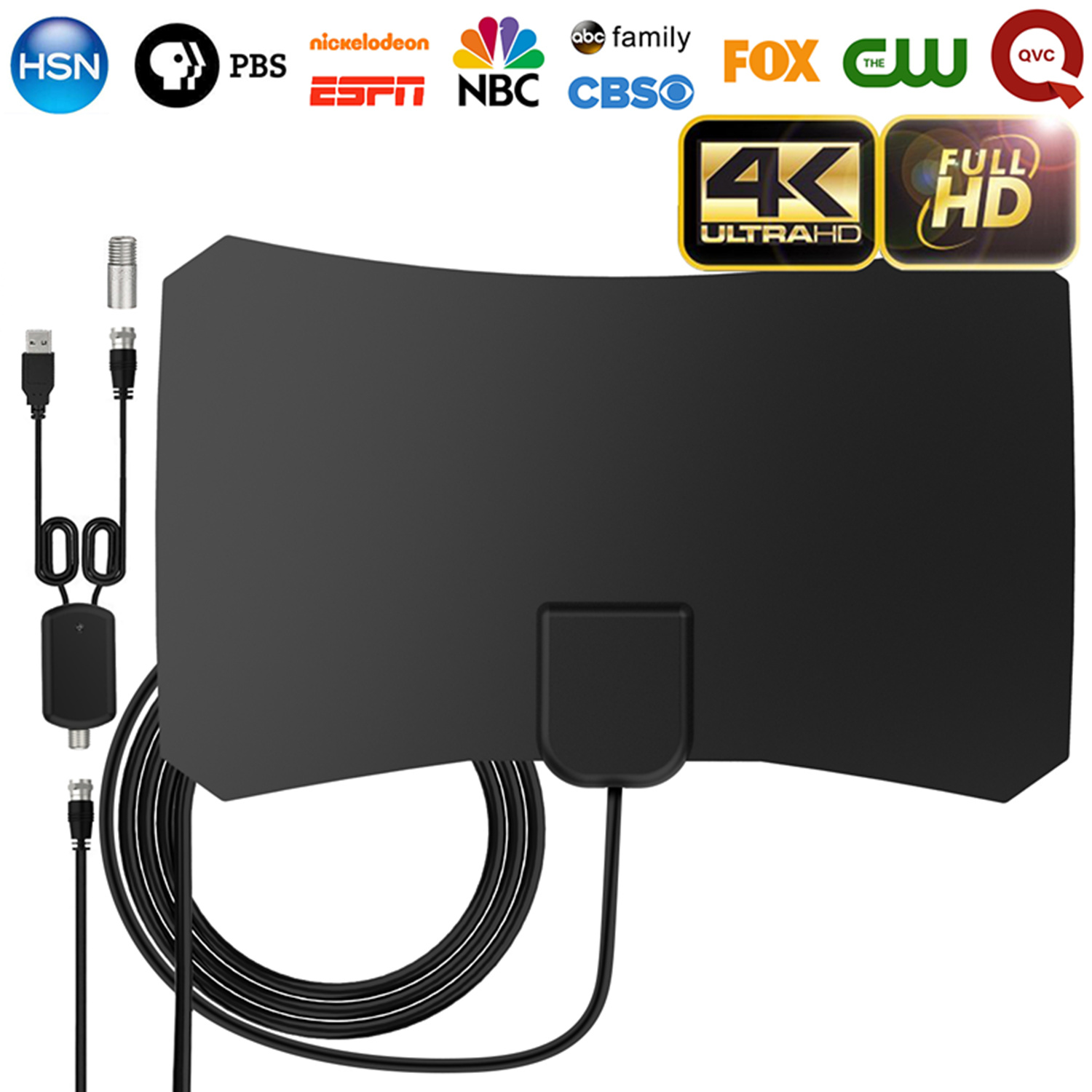 UPGRADED 2018 VERSION HD Digital TV Antenna Kit, 60-80 Miles Long Range High-Definition with HDTV Amplifier Signal Booster for Indoor - Amplified 10ft Coax Cable - Support All TV's - 1080p 4k Ready