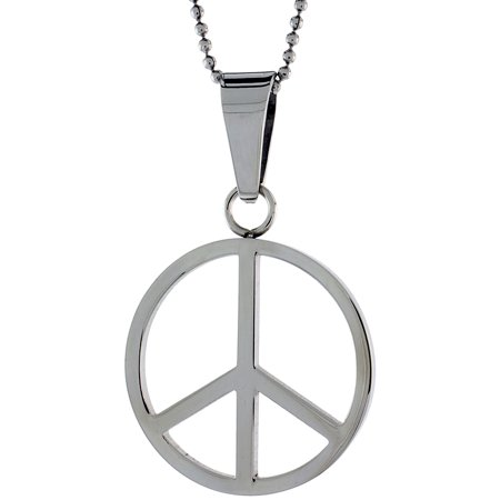 Stainless Steel Peace Sign Necklace, 1 3/16 inch tall, w/ 30 inch Chain