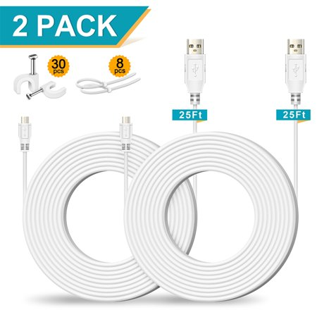 25FT 2 Pack Power Extension Cable for NestCam Indoor, Dropcamera, Yi Outdoor Security Camera, Yi Home Camera