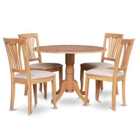 East West Furniture DLAV5-OAK-C 5PC Kitchen Round Table with 2 Drop Leaves and 4 Chairs with Microfiber Upholstered Seat