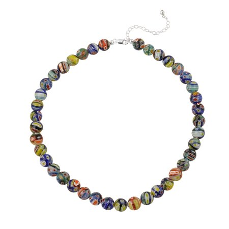 Venetian Murano Glass Beaded Millefiori Flower Necklace