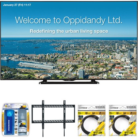 "Sharp 70"" Full HD Commercial LED-LCD TV (PN-LE701) with Xtreme TV/LCD Screen Cleaning Kit, Xtreme Ultra Slim Low Profile Flat Wall Mount for 60-100 Inch TVs &2x 6ft High Speed HDMI Cable Black"