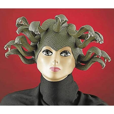 Medusa Snake Headpiece Latex Womens Wig Costume Hat Adult Mask Green Greek - Medusa Costume Headpiece