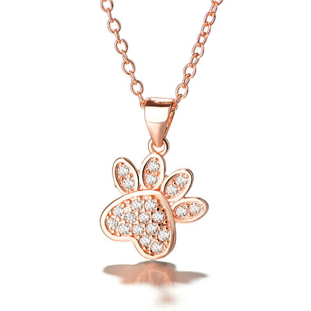 - Rose Gold Over Sterling Silver Genuine Crystal Dog Paw Pendant Necklace