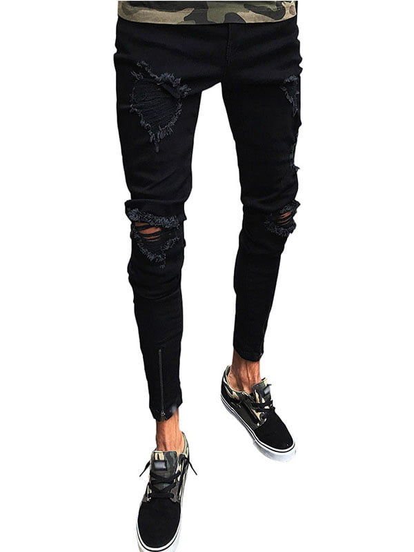 hower Men Ripped Destroyed Distressed Stretch Knee Patch Denim Pants Jeans