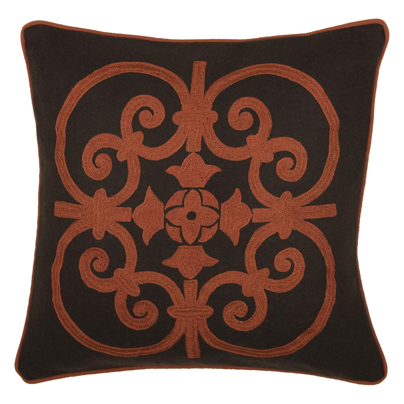 Rizzy Home Embroidered Wrought Iron Scroll and Welt Decorative Accent Pillow