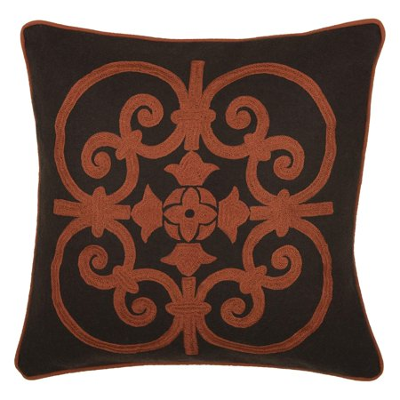 Rizzy Home Embroidered Wrought Iron Scroll and Welt Decorative Accent Pillow ()