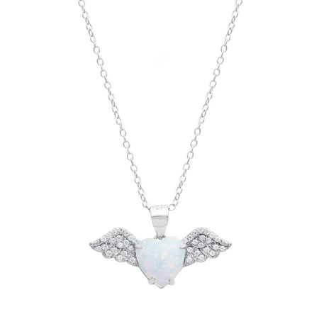 "Sterling Silver Cubic Zirconia and Created Opal Angel Wing Pendant, 18"" Chain"