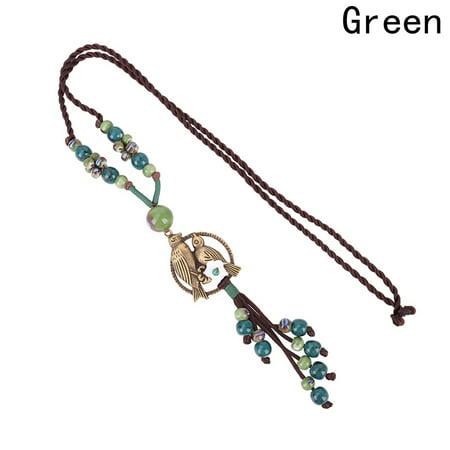 AkoaDa Tassels Necklace Flower Bird Pendant Chain Ceramic Beaded  Women Bohemian Fashion Jewelry Vintage Ethnic Long Rope ()