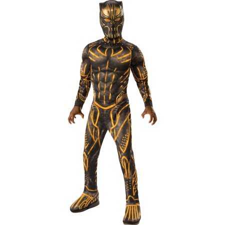 Little Boy Ghost Costume (Marvel Black Panther Movie Deluxe Boys Erik Killmonger Battle Suit)