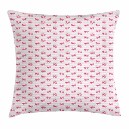 (Wedding Throw Pillow Cushion Cover, Pink Bow Ties on Pastel Colored Lines Background Valentines Day Love, Decorative Square Accent Pillow Case, 24 X 24 Inches, Pink White Pale Pink, by Ambesonne)
