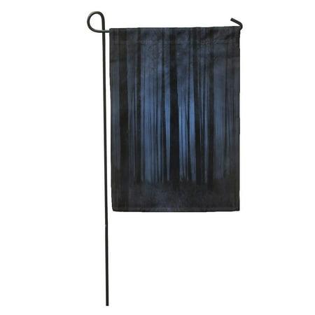 Spooky Halloween Forest (SIDONKU Blue Dark Spooky Foggy Forest at Night Green Tree Halloween Garden Flag Decorative Flag House Banner 12x18)