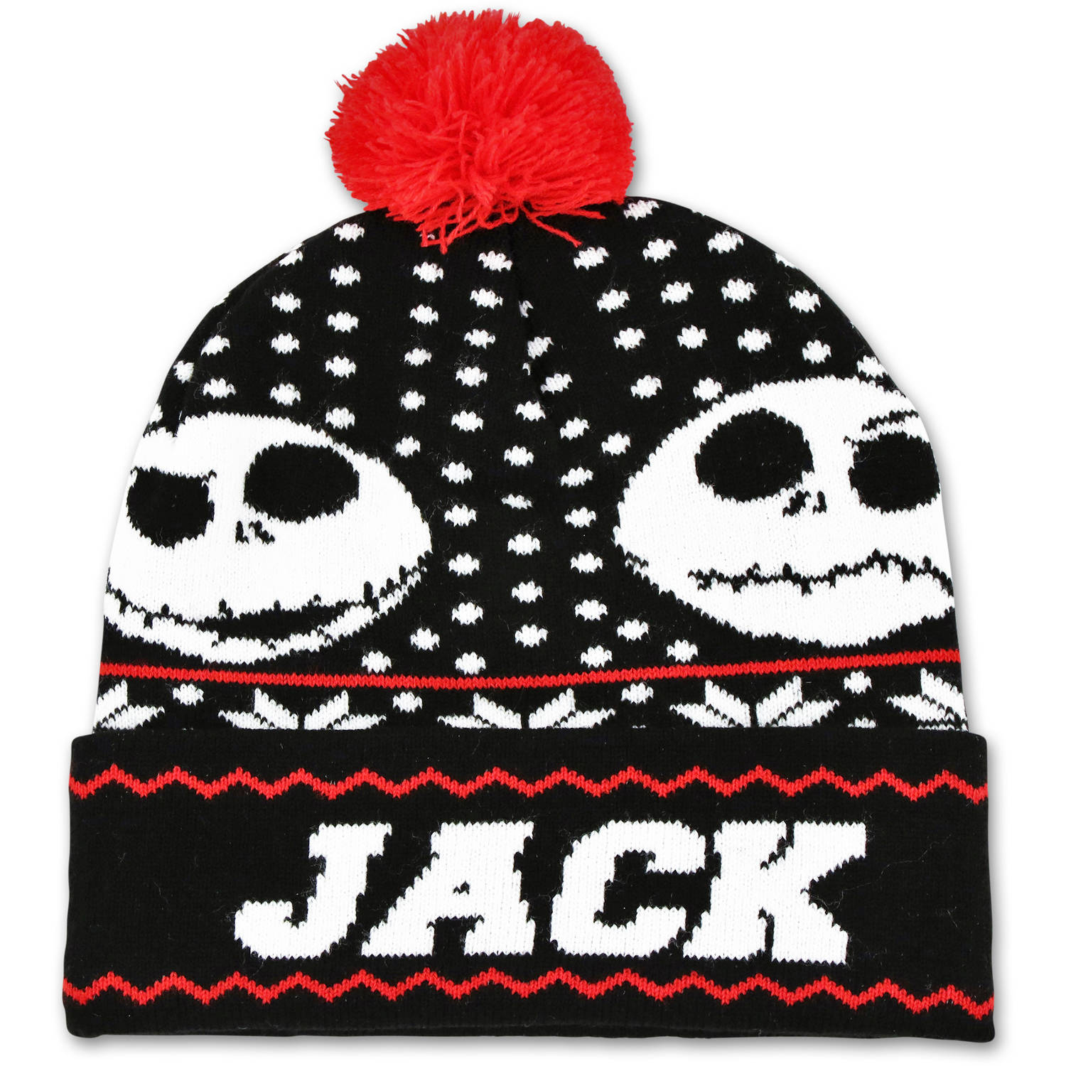 Disney Nightmare Before Christmas fair isle Jack cuffed knit beanie hat with pom.