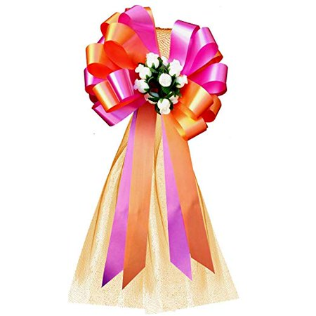 Wedding Pew Bows (Orange and Hot Pink Fuchsia Wedding Pew Pull Bows with Tulle Tails and Rosebuds - 8