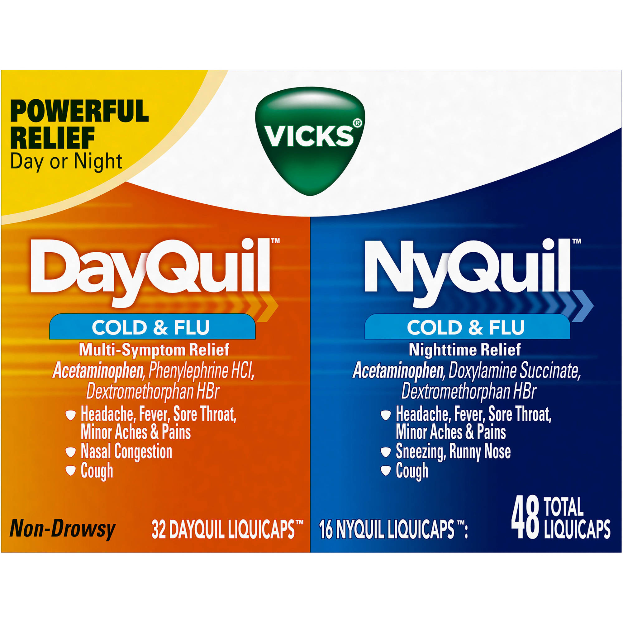 Vicks DayQuil & NyQuil Cold & Flu Relief LiquiCaps Co-Pack, 48 count