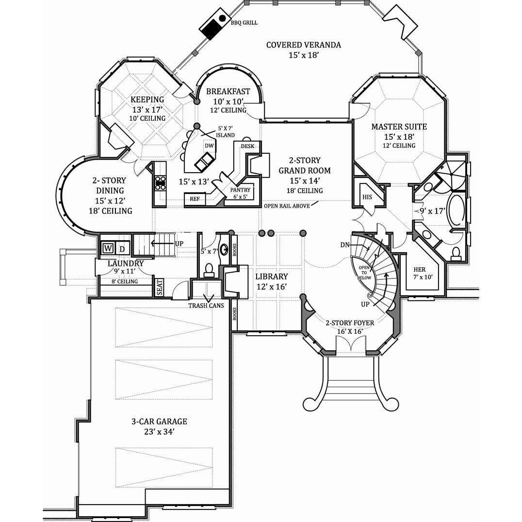 TheHouseDesigners-7805 Luxury European House Plan with Basement Foundation (5 Printed Sets)