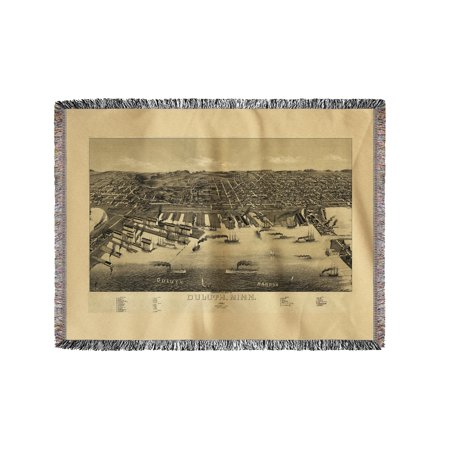 Duluth  Minnesota    1887    Panoramic Map  60X80 Woven Chenille Yarn Blanket