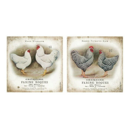 - Vintage French Chicken and Rooster Pairs; French Country Decor; Two 12X12 Poster Prints