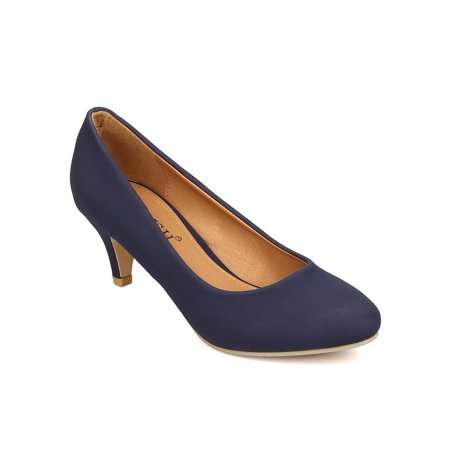 New Women CHeRISH Winy-1 Nubuck Round Toe Single Sole Kitten Heel Pump - New Womens Pump