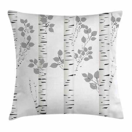 Birch Tree Throw Pillow Cushion Cover  Artistic White Branches With Leaves Autumn Nature Forest Inspired  Decorative Square Accent Pillow Case  16 X 16 Inches  Light Grey Black White  By Ambesonne
