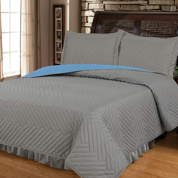 Deluxe Herringbone Reversible 1800 Premium Bedding Collection 3pc Coverlet Quilt Set Bedspread Full Queen Size Grey Blue Walmart Com Walmart Com