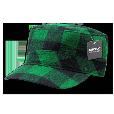 DECKY Plaid Flannel Flat Top BDU Military Patrol Hat Hats Cap For Men Women  Green Plaid 99913e812b2